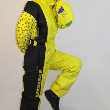 Vintage Volkl Völkl ski suit / Vintage One Piece Skiing Suit / Bright yellow pattern one piece Suit / Skiing costume