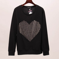 Hoodies sweatshirt women loving heart sequined tracksuits long sleeve