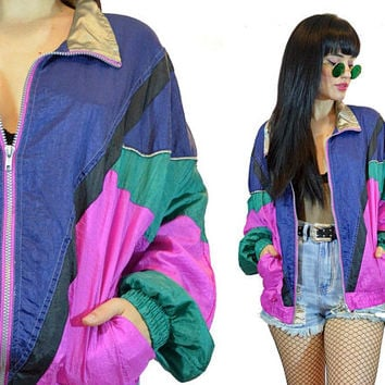 vintage 90s colorblock windbreaker pastel grunge jacket coat cyber grunge new wave pink teal blue patchwork ski jacket small