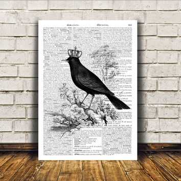 Modern decor Blackbird poster Bird art Dictionary print RTA362