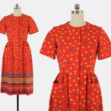 Vintage 60s LANVIN DRESS / 1960s Ethnic Inspired Red Floral Cotton Designer Day Dress S