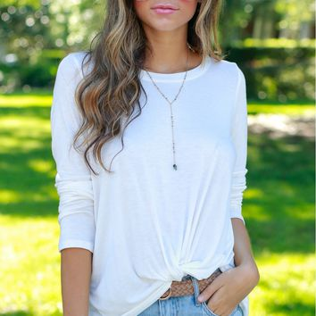 Knotty or Nice Long Sleeve Knot Tee Ivory