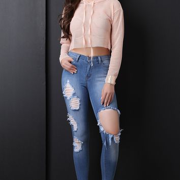 Square Hem Distress High Waisted Denim Jeans