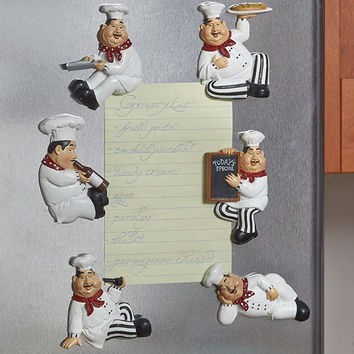 Kitchen Magnets Chef Themed Set of 6 Refrigerator Ceramic Notes Recipes