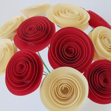 "bouquet of red & ivory roses 12 1.5"" Spiral Paper flowers with stems table Centerpiece Rolled paper one dozen Cardstock flowers"