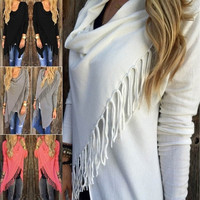 Womens Sexy Celeb Tassel Fringe Hem Irregular Baggy Hoode Batwing Shawl Coat Knitted Cardigan Loose Sweater  [8045209799]
