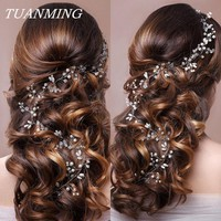 Wedding Headband Pearl Flower Bride Headbands Party Wedding Hair Accessories For Ladies Bridal's Tiara Romantic Hair Jewelry