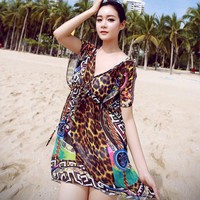 New Wrap dress/veil Chiffon Cover Ups Color leopard grain Beach outside the smock v-neck swimsuit cover