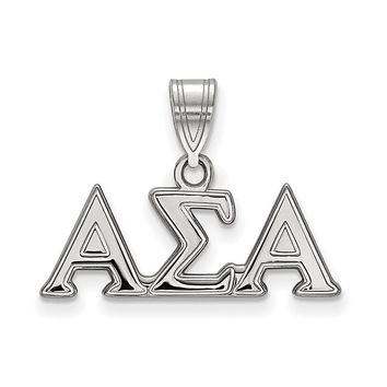 Sterling Silver Alpha Sigma Alpha Medium Pendant