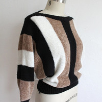 Vintage 80s Bold Striped Chenille Knit Sweater // Batwing Dolman Sweater S / M