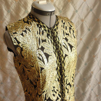 ON SALE 60s Dress // Vintage 1960s Gold and Black Dazzling Sleeveless Tapestry Party Dress  Size XL