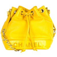 Chanel Vintage logo bucket bag