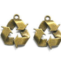 2 Antiqued Bronze Recycle Symbol Charms. 2-8-ABRC-2