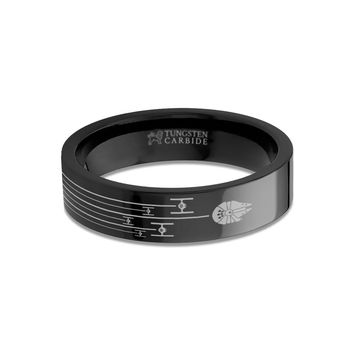 Star Wars Millennium Falcon TIE Fighter Chase Black Tungsten Ring