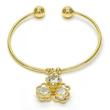 Gold Layered 07.63.0200 Individual Bangle, Flower Design, with White Cubic Zirconia, Polished Finish, Golden Tone (02 MM Thickness, One size fits all)