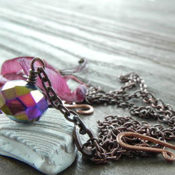 Sparkling Iridescent Purple Glass Necklace // Long Copper Necklace