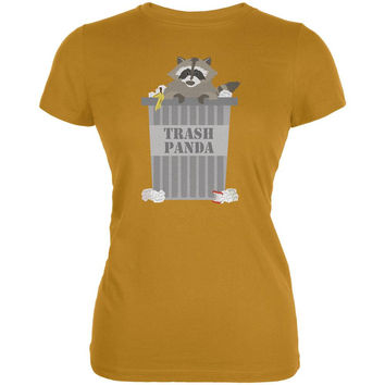 Trash Panda Raccoon Mustard Yellow Juniors Soft T-Shirt