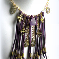Purple Leather Fringe Cross Necklace Bohemian Jewelry