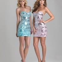 SALE! Night Moves by Allure 2013 Homecoming Dresses - Pink Sequin Strapless Fitted Homecoming Dress