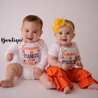 Baby Girl Thanksgiving Outfit Set - Everyone is Thankful for Me T Shirt, Ruffled Pants & Flower Headband-- Twins Outfit -- Gender Neutral