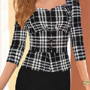 Womens Elegant Peplum Wear To Work Business Casual Party Pencil Cocktail Sheath Summer Dress