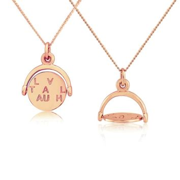 Seychelles Rose Gold Spinning Love Laugh & Travel Pendant by Auree Jewellery