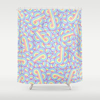 Rainbow and white swirls doodles Shower Curtain by savousepate