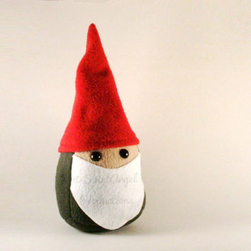 Plush Stuffed Gnome in Red and Green, MADE TO ORDER