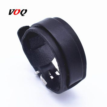 VOQ 2018 Personality Fashion Vintage Adjustable length Wrap Wristband Double Layer Leather Bracelets for Women Men Jewelry