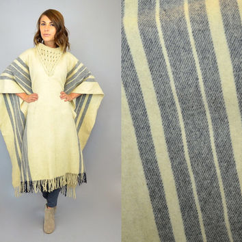 vtg 70's BLANKET PONCHO boho mexican ethnic stripe fringed maxi CAPE, one size fits most