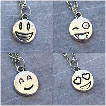 Text Emoticon Face Necklace - Texting Jewelry - Social Media Jewelry - Smiley Face Jewelry - Text Icons Jewelry - Happy Face Jewelry