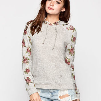 Chloe K Floral Sleeve Womens Hoodie Grey  In Sizes