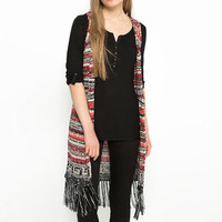 Geo Knit Long Fringed Sleeveless Vest
