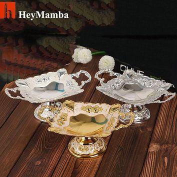 Silver/Gold Plated Square Metal Dry Fruit Tray Dish Zinc Alloy Fruit Plate Bowl With Nice Flower Designs