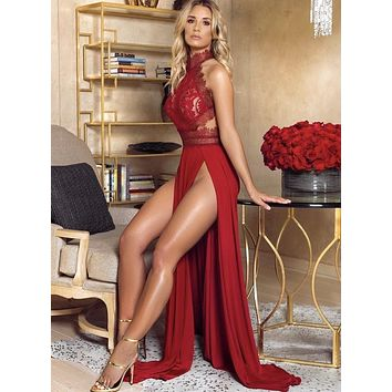 Lush super glamour maxi dress in red