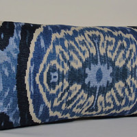 Duralee IKAT long LUMBAR - decorative pillow cover - batik indigo - blue - navy - natural - accent pillow - throw pillow