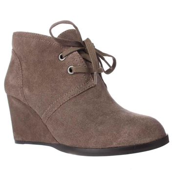 Lucky Brand Seleste Lace Up Wedge Booties, Brindle, 7.5 US / 37.5 EU