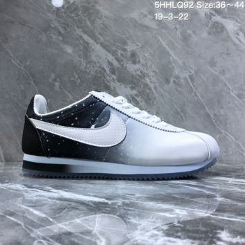 hcxx N1127 Nike Wmns Classic Cortez Nylon Prem Nightscape Star Crystal Bottom Running Shoes White Black