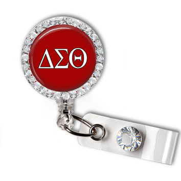 Delta Sigma Theta Sorority Greek Letters Swarovski Crystal Name Badge Holder