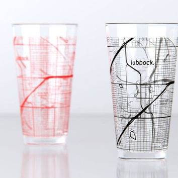 Lubbock, TX - Texas Tech - College Town Map Pint Glass Set