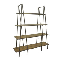 Benzara 23351 Metal Wood Shelving Unit, Brown