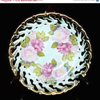 On Sale Vintage, Royal Sealy, China Saucer, Pearlescent, Iridescent, Rose Pattern, Cut Out Laced Edge, Gold Gilding