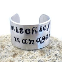 Harry Potter Ring  Mischief Managed  custom work by foxwise