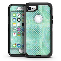 Green and Blue Watercolor Polka Dot Pattern - iPhone 7 or 7 Plus OtterBox Defender Case Skin Decal Kit