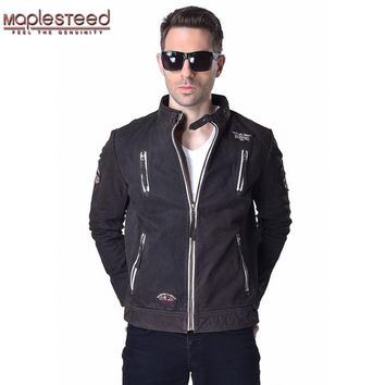 MAPLESTEED Mens Leather Jacket Embroidery 100% Genuine Goatskin Cowhide Black Brown Bomber Motorcycle Jacket Male Biker Coat 182