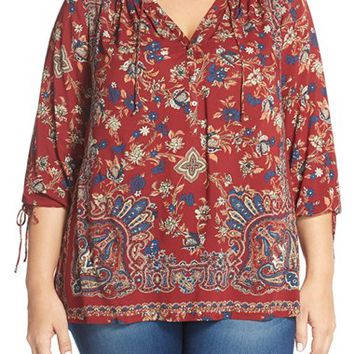 Plus Size Women's Lucky Brand Floral Paisley Peasant Top,