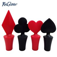 4Pcs Bar Tool Poker Shaped Silicone Vacuum Sealed Wine Bottle Stopper Kitchen Wine Champagne Stopper