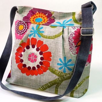 MIMOSA GRAY with spring flowers by ikabags on Etsy