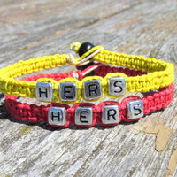 Hers and Hers, Bracelets for Couples or Best Friends, Red and Yellow Handmade Hemp Jewelry - Christmas in July SALE