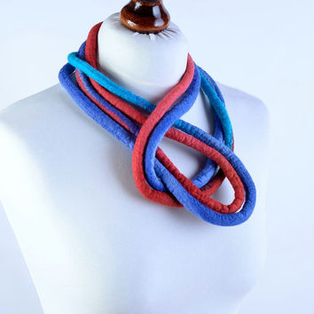 Very long felt rope necklace with loop design - massive, adjustable, designer, art jewelry - red & blue felted wool necklace [N136]